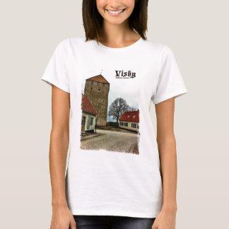 T-shirt Visby, tour du Gotland, Suède avec la frontière