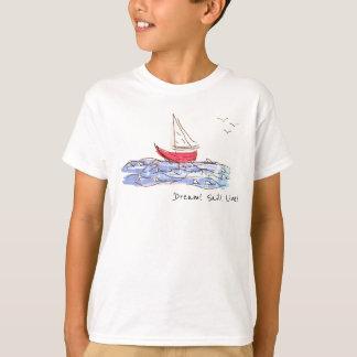 T-shirt vivant de croquis de mouette de bateau de
