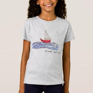 T-shirt vivant de croquis de mouettes de bateau de