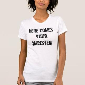 T-shirt Voici venir votre monstre ! Batteur Girly