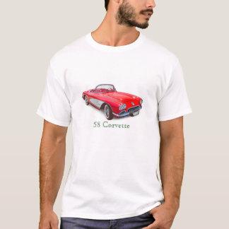 T-shirt Voiture 1958 classique rouge convertible de