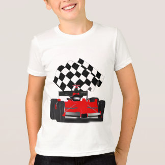 T-shirt Voiture de course rouge avec le drapeau Checkered