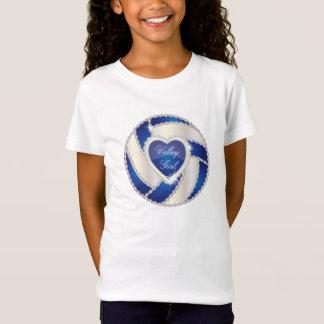 T-Shirt Volleyball bleu-foncé de coeur élégant de diamant