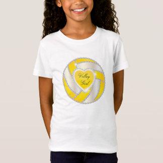 T-Shirt Volleyball jaune lumineux de coeur élégant de