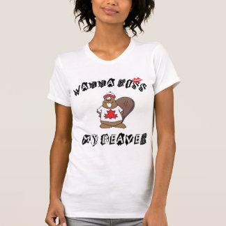 T-shirt Voulez embrasser mon Canadien de castor