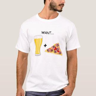T-shirt Voulez la bière et la pizza