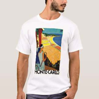T-shirt Voyage vintage, tennis, sports, Monte Carlo Monaco