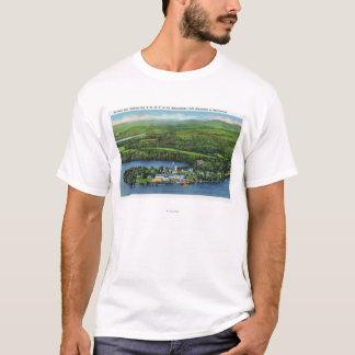 T-shirt Vue aérienne d'auberge de Saranac