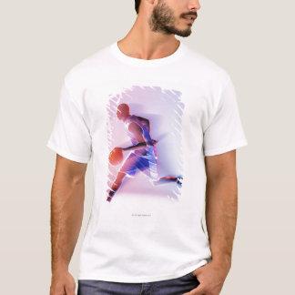 T-shirt Vue brouillée de joueur de basket ruisselant