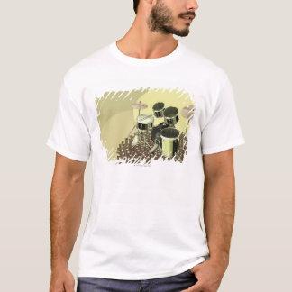 T-shirt Vue courbe d'un kit de tambour