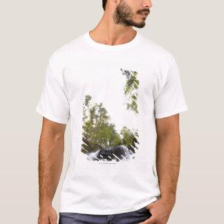 T-shirt Vue d'angle faible d'une cascade avec la vue de