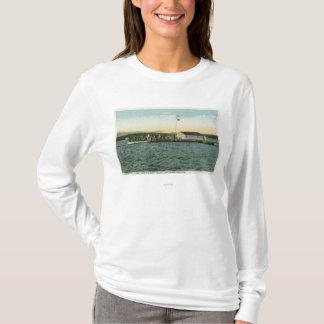 T-shirt Vue d'atterrissage de camp d'île de Sandy, Boston