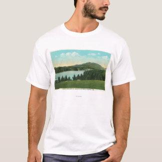 T-shirt Vue de fleur de lac avec Baker de Mt. dans la