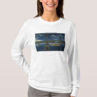 T-shirt Vue de nuit de pont du trafic du Mi-Hudson