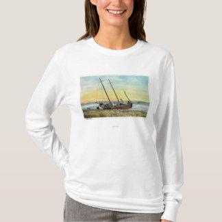 T-shirt Vue du bateau de coureur de rhum à terre