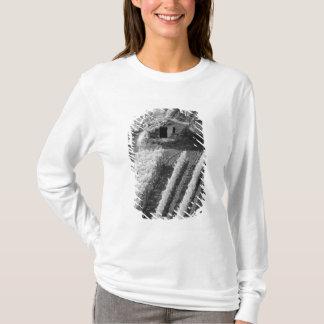 T-shirt Vue noire et blanche de petite grange en pierre
