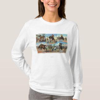 T-shirt Vues d'OregonScenic des types de Bronco de rodéo