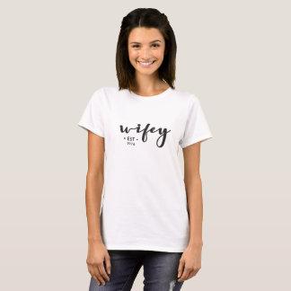 T-shirt Wifey, établi, année, personnalisée