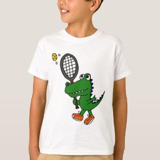 T-shirt XX alligator drôle jouant au tennis