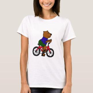T-shirt XX bande dessinée allante à vélo d'ours