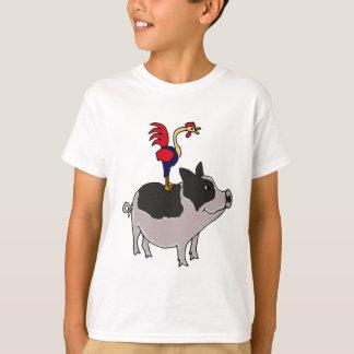 T-shirt XX coq sur une bande dessinée de porc gonflée par