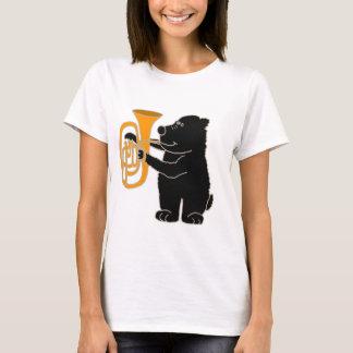 T-shirt XX ours noir jouant le tuba