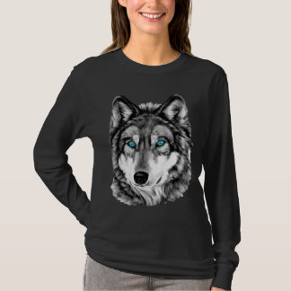 T-shirt Yeux bleus peints de gamme de gris de loup