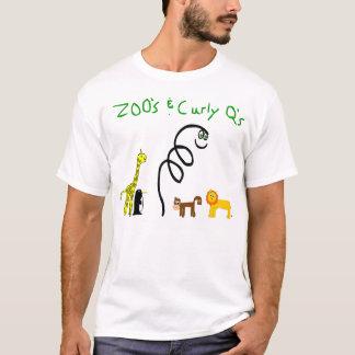 T-shirt Zoo et pièce en t blanche du q bouclé