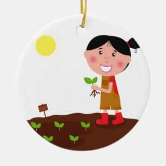 T-shirts créatifs de fille mignonne d'agriculture ornement rond en céramique