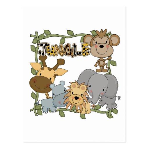 T-shirts et cadeaux d'animaux de jungle de bébé cartes postales
