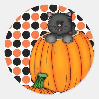 T-shirts et cadeaux de chat de Halloween Sticker Rond