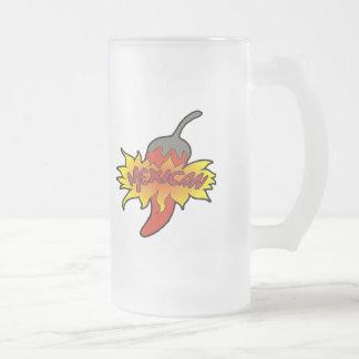 T-shirts et cadeaux de Cinco De Mayo de piment Frosted Glass Beer Mug