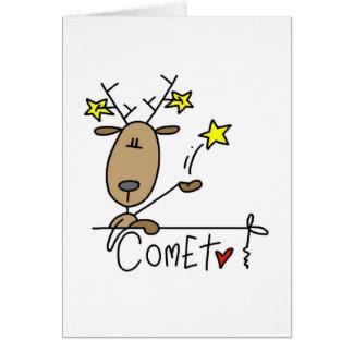 T-shirts et cadeaux de Noël de renne de comète Carte De Vœux