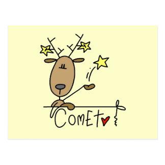 T-shirts et cadeaux de Noël de renne de comète Carte Postale