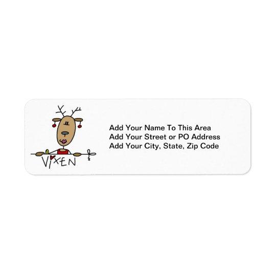 T-shirts et cadeaux de Noël de renne de renarde Étiquette D'adresse Retour