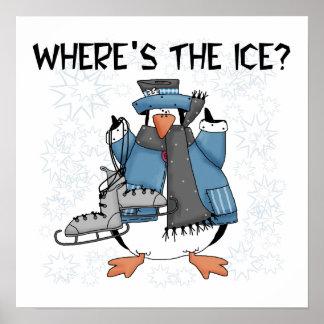 T-shirts et cadeaux de patinage de glace de pingou affiches