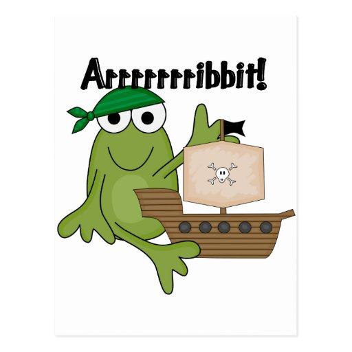 T-shirts et cadeaux de pirate de grenouille d'Arrr Carte Postale
