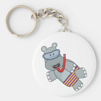T-shirts et cadeaux de Snorkeler d'hippopotame Porte-clé Rond