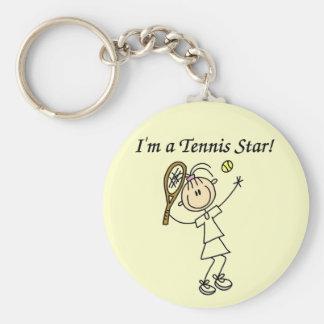 T-shirts et cadeaux de star du tennis de fille porte-clé rond
