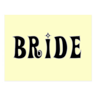 T-shirts et cadeaux noirs de jeune mariée des cartes postales