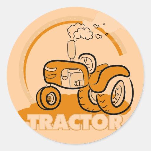 T-shirts et cadeaux oranges de tracteur autocollant rond
