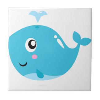 T-shirts merveilleux avec le bleu de baleine petit carreau carré