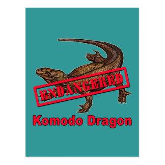 T-shirts mis en danger de dragon de Komodo Carte Postale