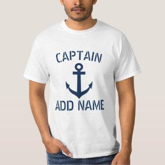T-shirts nommés personnalisés d'ancre de capitaine