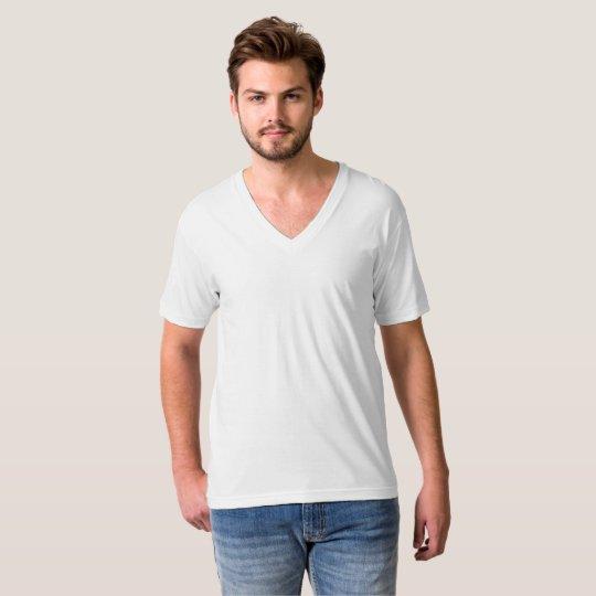 T-shirt col V en jersey fin pour hommes, Blanc