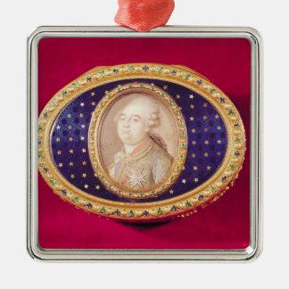 Tabatière avec une miniature de portrait de Louis Ornement Carré Argenté