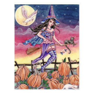 Tabitha - carte postale de sorcière, de chat et de