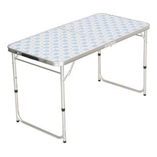 Table Beerpong Coeurs bleus et blancs romantiques