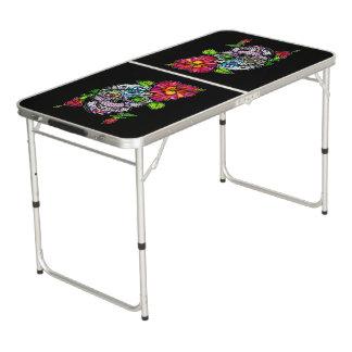 TABLE BEERPONG CRÂNE ET FLEUR DE SUCRE