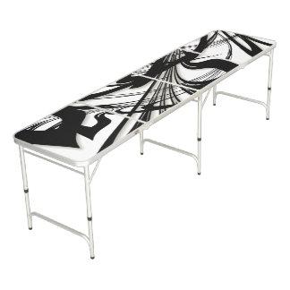 Table Beerpong Gorge noire et blanche de fougère